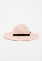 Joy Collectables - Bow Detail Straw Hat Pale Pink