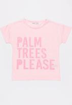 MINOTI - Beachy neon nep reverse print tee - pink