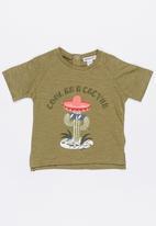 MINOTI - Cactus Printed Slub Jersey Tee Khaki Green