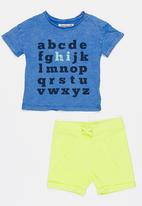 MINOTI - Holiday 2 Piece Acid Wash Printed Tee & Washed Out Multi-colour