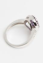 edit - Sterling Silver amethyst oval halo dress ring - purple