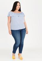 STYLE REPUBLIC PLUS - Bardot tunic - blue & white