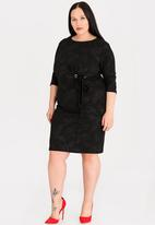 STYLE REPUBLIC PLUS - Eyelet detail bodycon dress - black