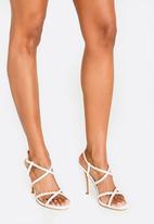 Sarah J - Diamante Strappy Heels White