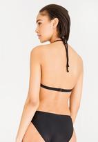 Lithe - Strappy moulded bikini top - black