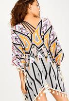 Lithe - Pullover kaftan with tassle on side hem - multi-colour