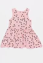 MINOTI - Basic Polka Dot AOP Slogan Dress Multi-colour