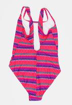 Sun Things - Neon Zig Zag One Piece Dark Pink