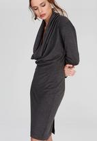 DAVID by David Tlale - Bella Longsleeve Cowl Neck Dress Grey Melange