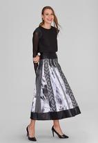 DAVID by David Tlale - Tshidi Pleated Skirt Mid Grey