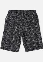 Twin Clothing - All Over Print Fleece Short Black and White