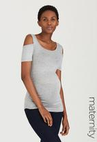 edit Maternity - Cold-Shoulder Tank Top Grey