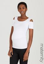 edit Maternity - Cold-Shoulder Tank Top White