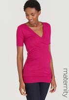 Cherry Melon - Short Sleeve Gauged Wrap Top Mid Pink