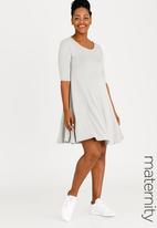 edit Maternity - Fit and Flare Dress Grey Melange