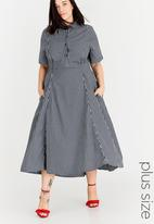 AMANDA LAIRD CHERRY - Check Mathlo Shirt Dress Navy