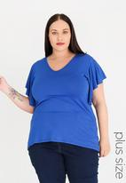 edit Plus - Flutter Sleeve Top - blue