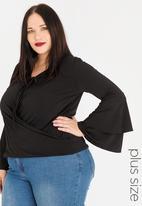 edit Plus - Tiered sleeve blouse - black