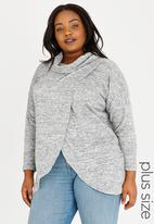 STYLE REPUBLIC PLUS - Wrap Front Pull Over Pale Grey