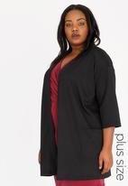 edit Plus - Open Front Coat with Patch Pockets Black