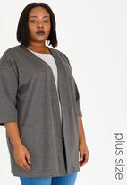 edit Plus - Open Front Coat with Patch Pockets Charcoal