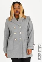 STYLE REPUBLIC PLUS - Double Breasted Wool-like Coat Grey