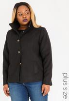 STYLE REPUBLIC PLUS - Classic Button Front Coat Black
