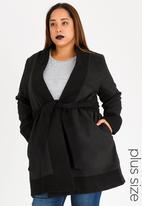 AMANDA LAIRD CHERRY - Kholeka Contrast Wool-like Coat Black and Grey