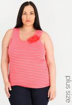 edit Plus - Flower Inspired Tank Top Coral