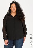 STYLE REPUBLIC PLUS - Sheer shirt - black