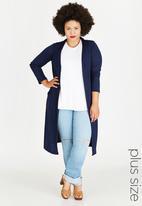 edit Plus - Longer Length Knit Cardigan Navy