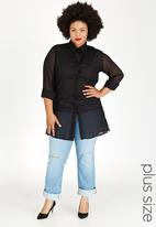 STYLE REPUBLIC PLUS - Longer Length Shirt Black
