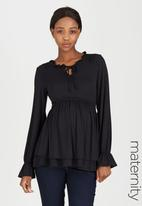edit Maternity - Double Layer Knit Top Black