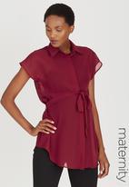 edit Maternity - Chiffon Shirt Dark Red