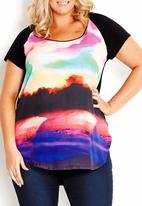 City Chic - Woven and knit tee Multi-colour