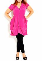 City Chic - Tunic with front zip dark Pink