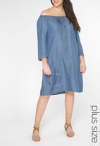 EVANS - Gypsy Dress Mid Blue