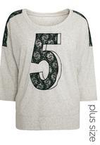 Next - Lace Three-quarter Sleeve Top Grey