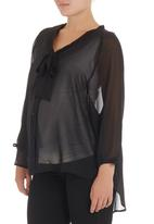 Me-a-mama - Chiffon blouse with pussy-bow Black