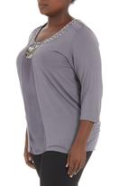 Megalo - Beaded top with front panel Grey