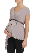 Astrid Ray - Kira vest with belt  Stone/Beige