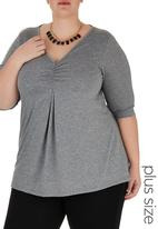 edit - Ruched T-shirt Grey Mid Grey