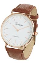 Jewels and Lace - Classic Round Frame Watch Tan