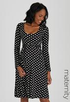 Cherry Melon - Scoop-Neck Long Sleeve Dress Black and White