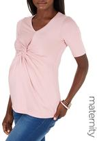 edit Maternity - Knot Top Pale Pink