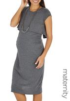 edit Maternity - Double Layer Bodycon Dress Mid Grey