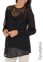 Me-a-mama - Paris Blouse with Lace Inset Black