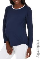 edit Maternity - High-low Top Blue and White