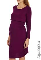 edit Maternity - Double Layer Long Sleeve Bodycon Dress Dark Purple