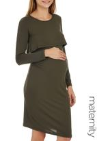 edit Maternity - Double Layer Long Sleeve Bodycon Dress Green